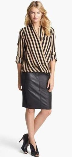 Leather   Stripes = Gorgeous Work Look