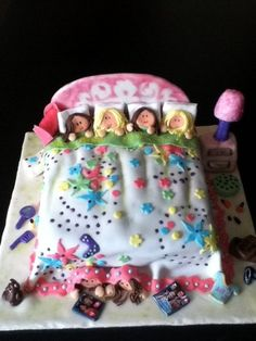 PJ Party  Cake by monsweetb  Great idea! Cute for a girls Birthday Party!