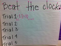Beat the clock activity for gaining fluency in math facts