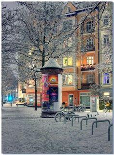 Snowy night in Hamburg, Germany.