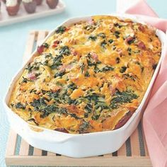 Cheddar, Ham and Spinach Strata. This make-ahead cheese recipe uses inexpensive ingredients that you likely have on hand, including eggs, bread and frozen spinach.