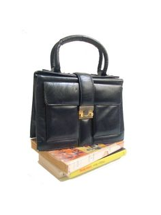 french 60s HANDBAG navy leather by lesclodettes on Etsy, $54.00