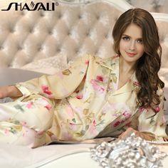 Shaya Lee 2014 new clothing silk v-neck Silk Pajamas Women's two-piece summer suit long sleeve