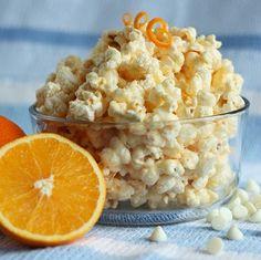 sweet, food, creamsicl popcorn, popcorn snacks, oranges, orang creamsicl, parti, dessert, popcorn recipes