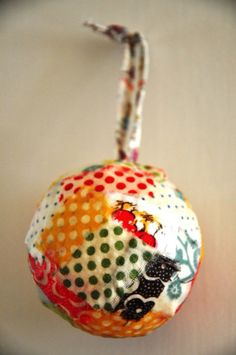 Mod Podge fabric scrap ornament