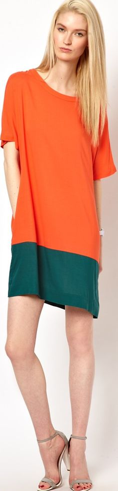 fashion rules for apple shapes - orange casual dress - read article and leave tips for us if you're an apple shaped woman -