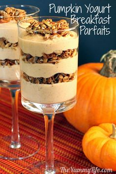 Maple Pumpkin Pie Yogurt Breakfast Parfait. TheYummyLife.com