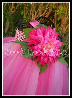 PINK BABYDOLL Tutu Dress with Flower and Greenery