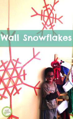 Try making this beautiful wall decoration! http://www.greenkidcrafts.com/large-snowflake-wall-art/