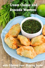 The Stay At Home Chef: Cream Cheese and Avocado Wontons with Cilantro Lime Dipping Sauce