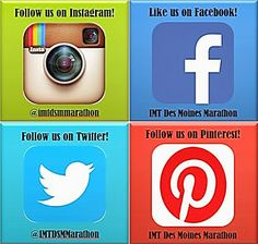 We aren't only on Pinterest. Go LIKE or FOLLOW some of our other social media pages to stay up to date with IMT Des Moines Marathon news, pictures, and other tips :)  Facebook: IMT Des Moines Marathon Twitter: @IMTDSMMarathon Instagram: @imtdsmmarathon