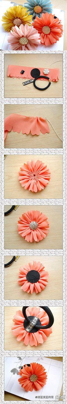 diy ideas, hair flowers, craft flowers, handmade accessories, fabric flowers