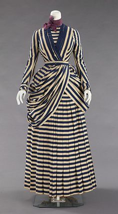 Dress: 1885-88, American american medium, costum, fashion 1880s, corsets, victorian dresses, art deco, art nouveau, stripe, brooklyn