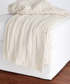 This looks so cozy and soft! :: Cream Cable-Knit Throw Blanket by Rizzy Home #zulily