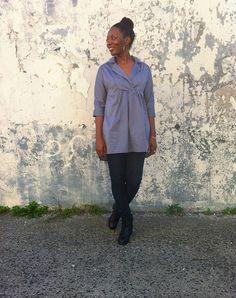 Lisette pattern tunic made with Mood's silk-cotton blend. #moodfabrics