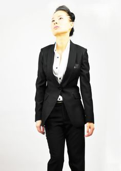 Shawl collar with lamb leather on the shoulder by EllaLai on Etsy, $125.00
