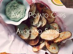 Baked Potato Chips with Avocado Dip