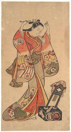 "Portrait of Sanjô Kantarô in the Female Role of Yaoya Oshichi in the Play ""Fuji no Takane"" (""The High Peak of Mount Fuji"")  Attributed to Torii Kiyomasu II  (Japanese, 1706–1763)  Period: Edo period (1615–1868) Date: ca. 1730–40 Culture: Japan Medium: Tan-e (hand-colored print); ink and color on paper"