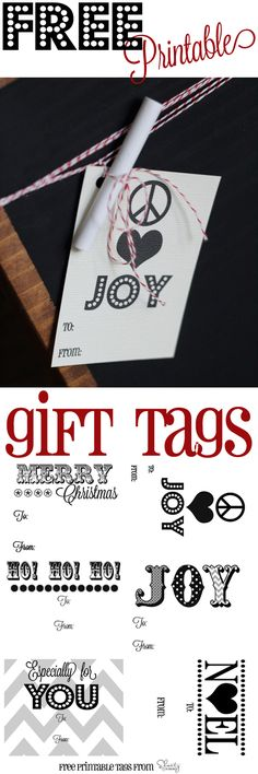 Free Printable Gift Tags. print them on sticky paper.