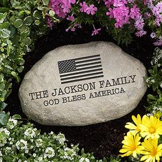 American Flag Personalized Garden Stone