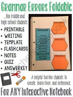 Grammar Errors Interactive Notebook Foldable (PLUS flash cards, notes and quiz) from The Classroom Sparrow on TeachersNotebook.com -  (9 pages)  - Looking for a new way to teach grammar? This grammar foldable can be used as a mini lesson and is a perfect addition to an existing interactive notebook, or perhaps a new one.