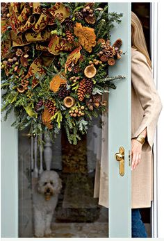 . christmas wreaths, holiday wreaths, idea, fall decor, blue doors, front door, door colors, fall wreaths, beauti wreath