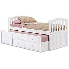 Nice traditional look with trundle AND drawers. Perfect kid's bed - think of the fun sleepovers!