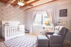 Daddy Designed Nursery - love the chevron rug and wallpaper accent wall!