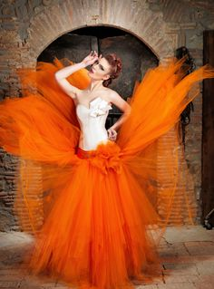 Jordi Dalmau orange/white wedding dress 2014