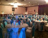Winter Wedding Table Centerpieces, White Peonies, Ice Branches, Blue Teal Lighting, Chair Sashes