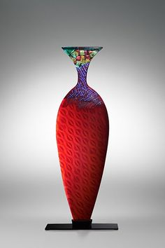 Gerry King  Virtual Vessel 2003 2, 2003  glass, steel base  400 mm High  Kiln cast glass, private collection Australia