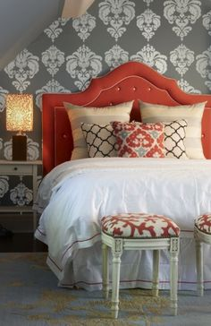 This reminds me of the walls in my Grandmothers room when i was a kid. I love this look! Elegant Damask wall decals make decorating a breeze! $32 for the smallest size. :)
