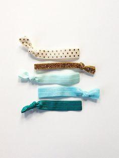 elastic hair ties -- aqua shimmer palette /etsy