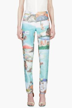 HUSSEIN CHALAYAN Turquoise Pixelated Ribbed Trousers