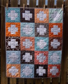 Blue, Brown and Orange Plus Quilt by The Spotted Elephant Boutique, via Flickr