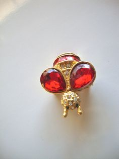 Vintage Insect Brooch with Ruby Red Jelly Glass by CrimsonVintique, $48.00