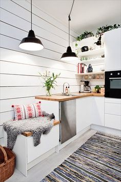 Cozy spot in the kitchen love the wall