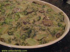 Creamy Broccoli Mushroom Casserole -- add gluten-free crumb topping and bake