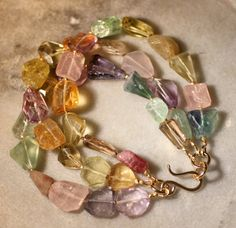 Gemstone Bracelet by stonecraft on Etsy, $225.00--Rose Quartz Champagne Quartz Tourmaline Green Garnet Aquamarine Amethyst Rutilated Quartz Prehnite Citrine Lemon Quartz Iolite Peridot Fluorite