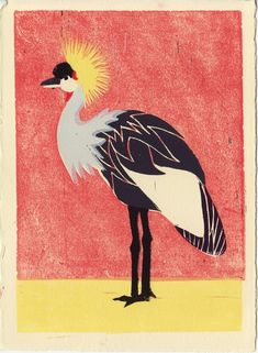 Tropical African Crowned CRANE Hand-pulled Linocut Bird Art Print for wall and room decor, red, yellow, gray. grey, black