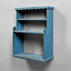 Blue-painted Wall Shelf