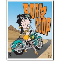 Betty Boop Born 2 Boop Motorcycle Retro Vintage Tin Sign