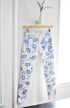 DIY Floral Jeans - gun vase by ...love Maegan, via Flickr