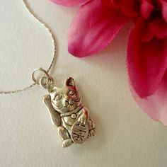 Maneki Neko--Lucky Cat Necklace in Silver