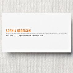 Design with sophisticated sensibilities, personalization in our Clementine hue accompanied by well-placed pertinent information in charcoal makes for business cards that would surely make Eames ecstatic.