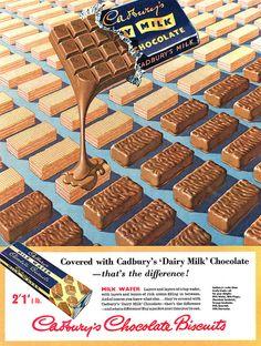 Cadbury's Chocolate Biscuits advertisement, August 1956. Still love Fruit & Nut