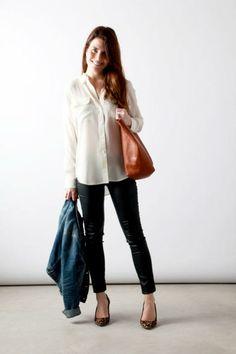 blouse / black skinnies / leopard / cognac / denim jacket