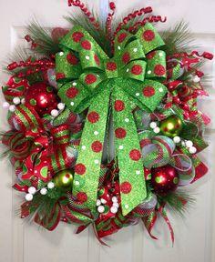 christma wreath, christma mesh, christmas wreaths, polka dots, christmas bows, wreath idea, christma time, mesh wreaths, holiday decor