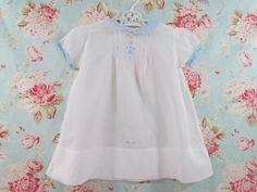 Antique Baby Dress Embroidered Cotton Blue