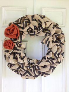 19 inch Chunky Black and Natural Chevron Burlap Wreath, Burnt Orange Burlap Flowers, Summer Fall/ Autumn Wreath, Bridal Shower, Wedding on Etsy, $44.00